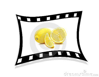 A single stretched film strip with lemons 3d.