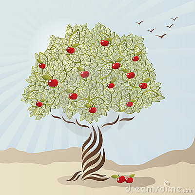Single stylized apple tree