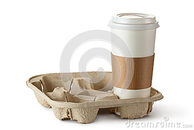 Single take-out coffee in holder