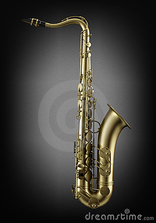 Single tenor saxophone on dark wall