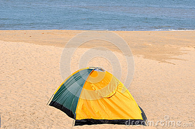 Single tent on sand