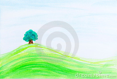Single tree on green hill under blue sky.