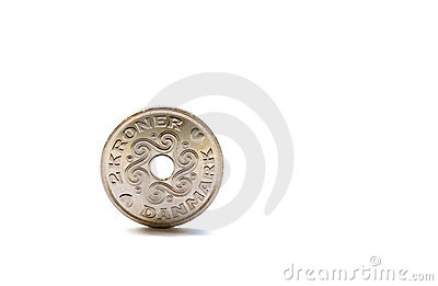 Single two Danish krones coin