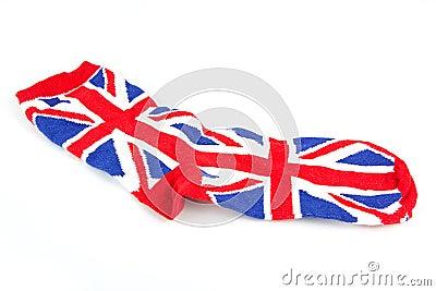 Single Union Jack sock on white