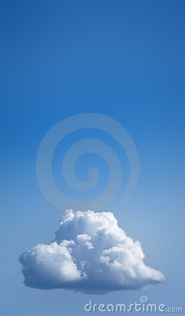 Single white cloud in blue sky