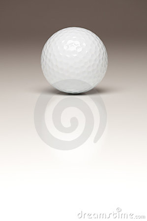 Single White Golf Ball on Gradated Backgroun