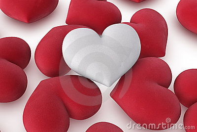 Single white heart on red hearts