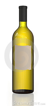 Single wine bottle with bright content