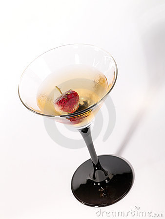 Single wineglass with alcohol drink