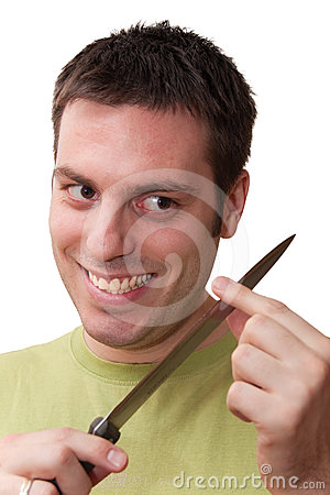 Sinister looking man with knife