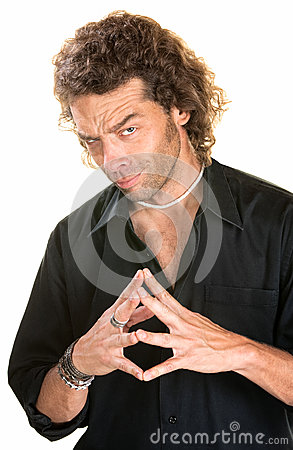 Sinister Man with Hands Together