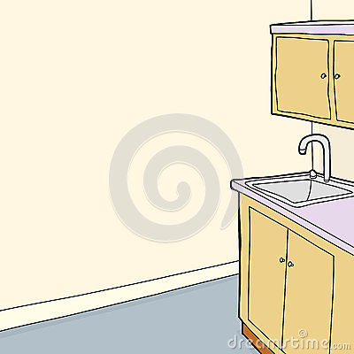 Sink Blank : Sink and cabinets in room with blank wall.