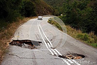 Sink holes in Road