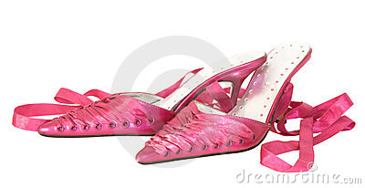 Sink pink ladies shoes,isolated on white