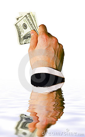 Sinking hand with money