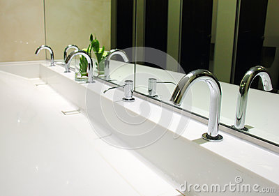 Sinks and taps in toilet