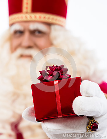 Sinterklaas showing gift