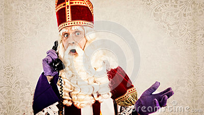 Sinterklaas with telephone