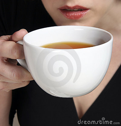 a sip from a cup of tea