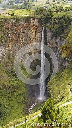 Sipiso piso waterfall in Danau Toba, Indonesia.