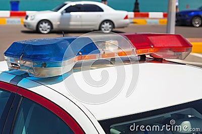 Siren light on the police car