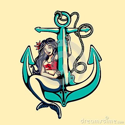 Free Siren Mermaid Pinup Girl Sitting On Anchor Tattoo Vector Royalty Free Stock Images - 82643939