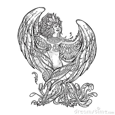Free Sirin - Half-woman Half-bird In Russian Myths And Fairy Tales. Singing And Laughing. Intricate Linear Drawing Isolated Royalty Free Stock Images - 119749529