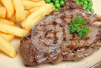 Sirloin Beef Steak Dinner with Chips