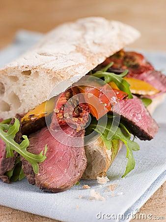 Sirloin Steak and Roasted Pepper Ciabatta Sandwich