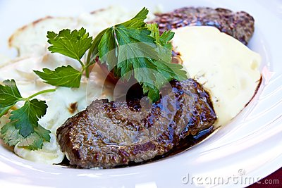 Sirloin strip Steak -Entrecote-with vegetables and
