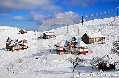 Sirnea village in winter, Romania