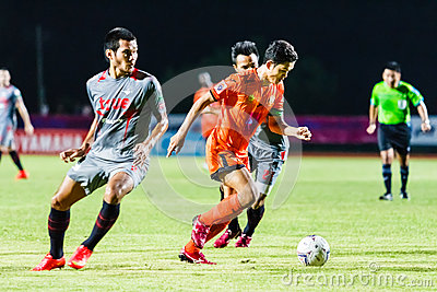 SISAKET THAILAND-JUNE 29: Sarayuth Chaikamdee of Sisaket FC. Editorial Stock Photo