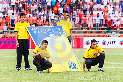 SISAKET THAILAND-JUNE 29: Unidentified people with FIFA Fair Pla Editorial Stock Image