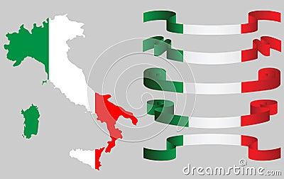 Sistema de cintas italianas y del mapa italiano en colores de la bandera