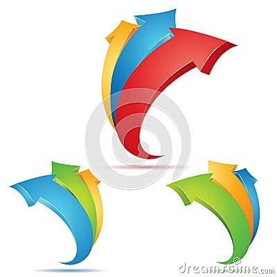 Sistema de las flechas multicoloras 3d