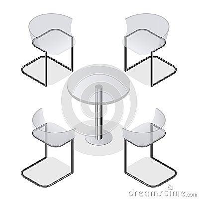 sistema de sillas isomtricas y una mesa redonda para el interior el cuarto el caf o el restaurante de la cocina diseo moderno de la moda