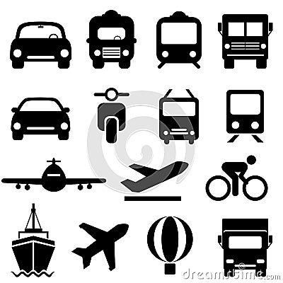 Sistema del icono del transporte