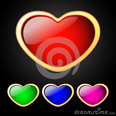 Sistema del vector de corazones coloreados