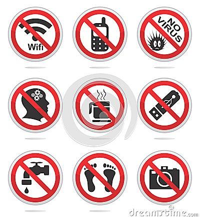 Sistema prohibido del icono