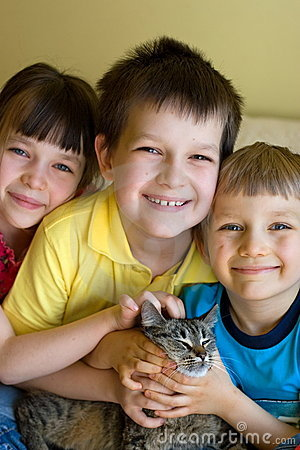 Sister, brothers and cat