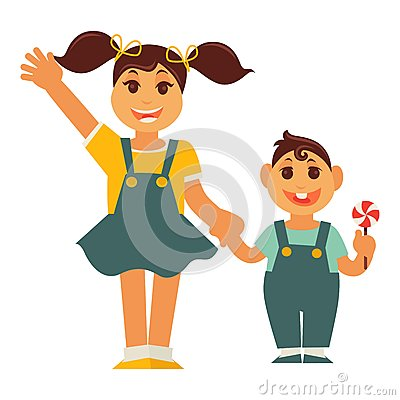 Free Sister Girl And Brother Boy Holding By Hands Vector Flat Family Royalty Free Stock Photo - 89862895
