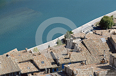 Sisteron roofs and river in France