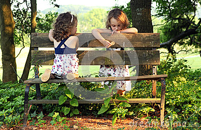 Sisters on Bench