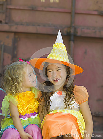 Free Sisters In Costume, Halloween Stock Photography - 32939092