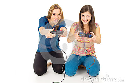 Sisters play video games