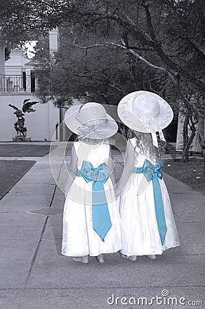 Sisters Sharing a Garden Wonderland