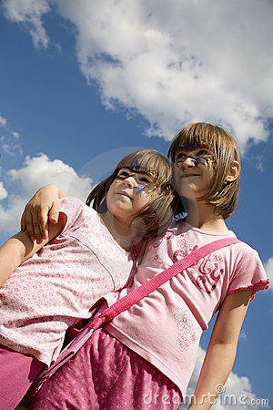 Sisters sky and mask