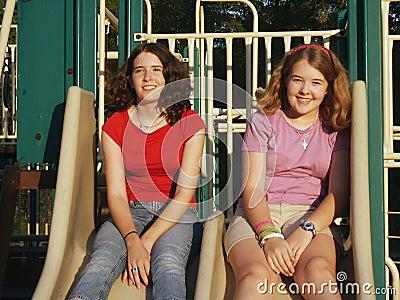 Sisters on slides