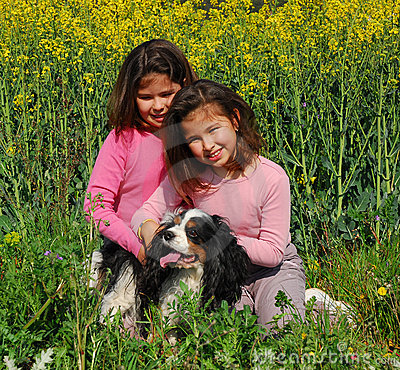 Sisters twins and dog