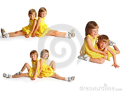 Sisters twins in yellow dresses 3 photos